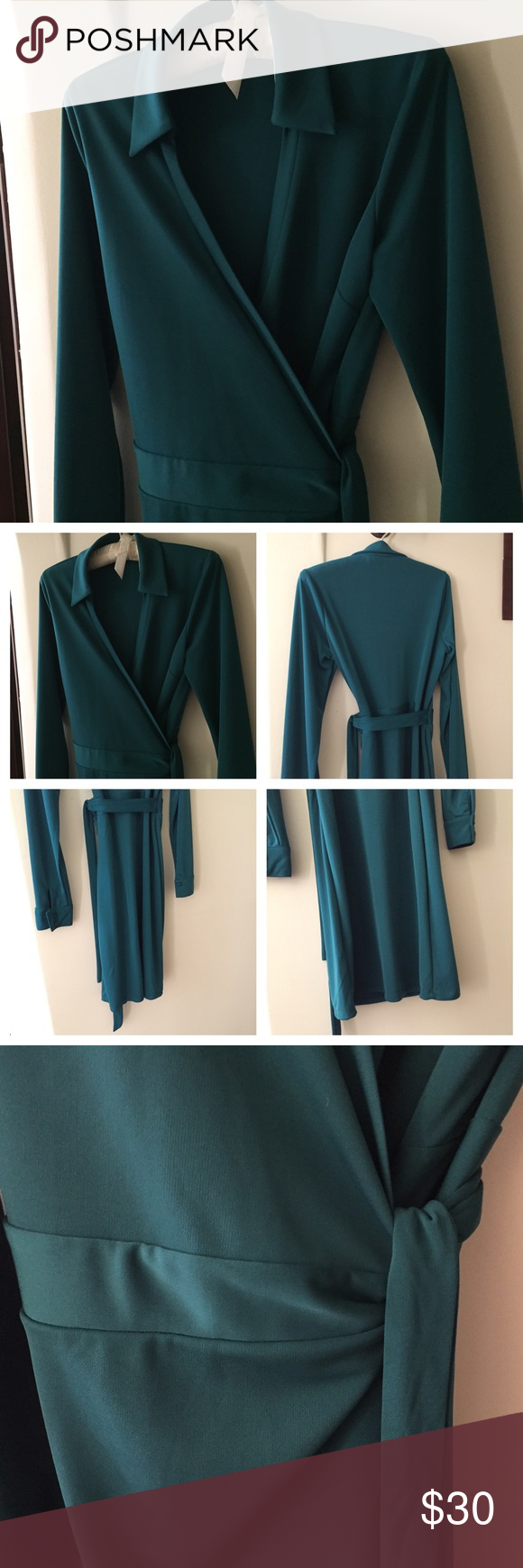 The Limited Green Wrap Dress • Sz M Gorgeous shade of green wrap dress from The Limited (not blue or teal - color was hard to capture).  Worn a handful of times and in great condition. Long sleeved with buttoned cuffs. Absolutely love this dress - only selling because it's no longer my size. Size M. The Limited Dresses
