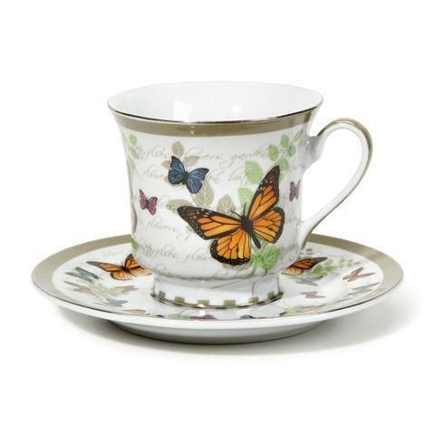 Butterfly Discount Tea Cups and Saucers - Set of 6 Cheap Price ...