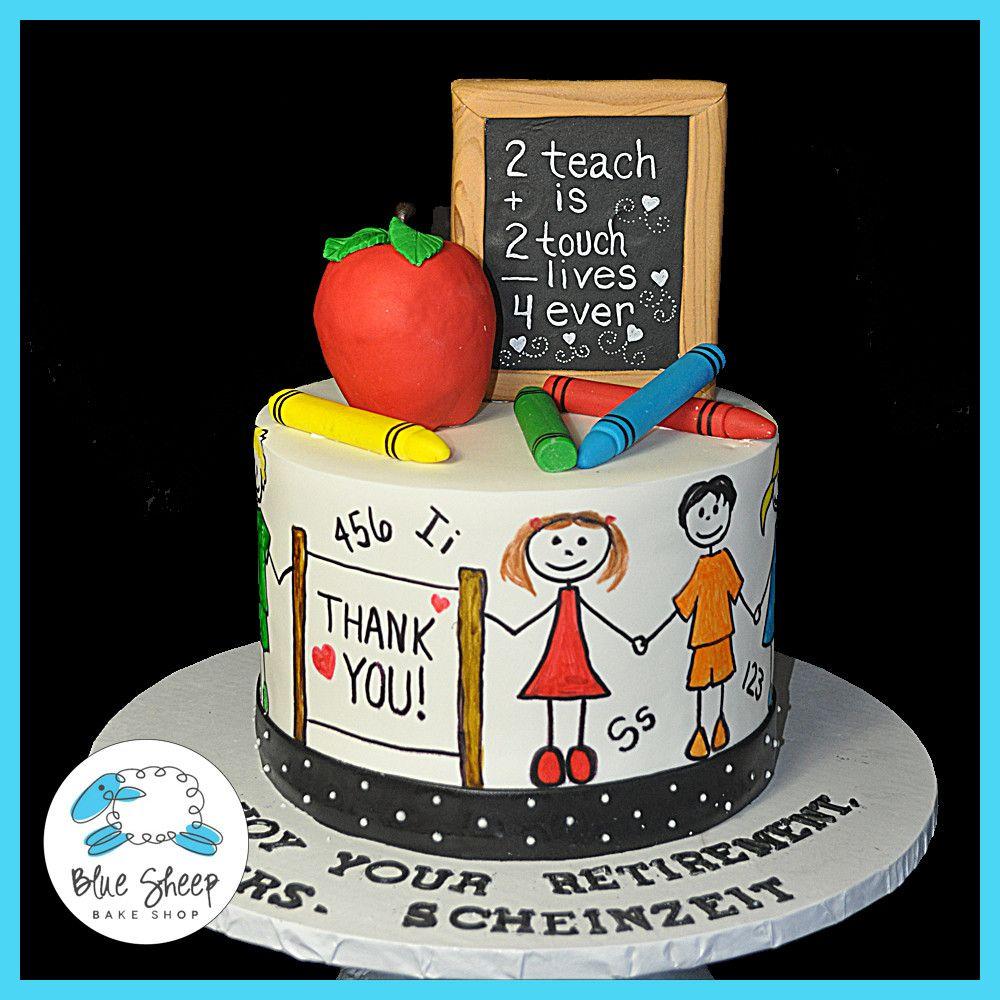 School Teacher Retirement Cake Blue Sheep Bake Shop cute cakes