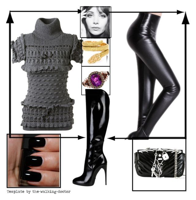 """Set #1177 - Love those Boots"" by the-walking-doctor ❤ liked on Polyvore featuring Christopher Kane, Gucci, NARS Cosmetics, Yves Saint Laurent, Cartier and LE VIAN"