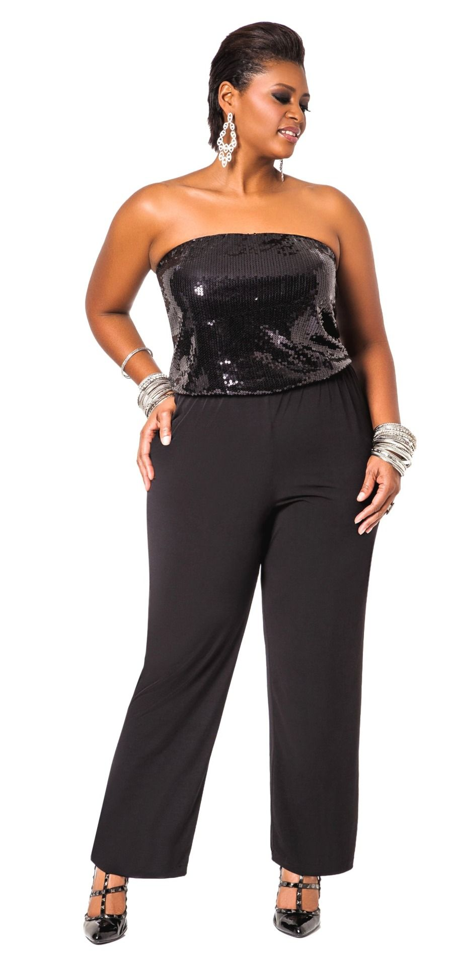 339a41109aa Chearice Vaughn in Ashley Stewart's Sequined Tube Top Jumpsuit ...