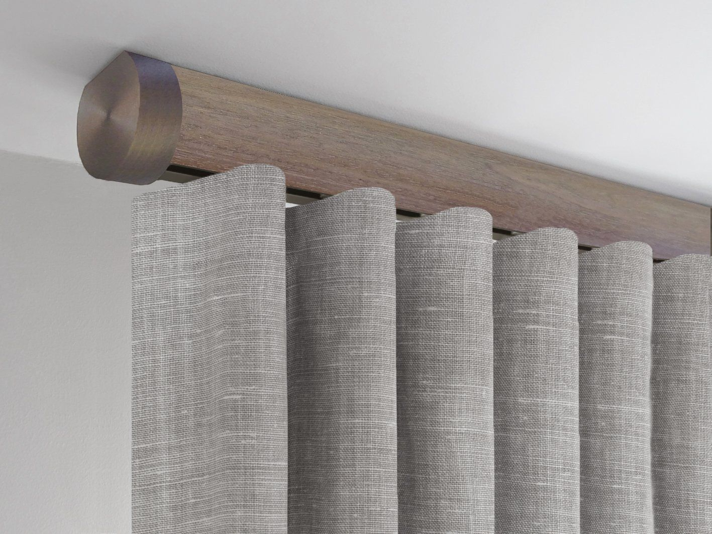 50mm Dia Tracked Ceiling Fix Curtain Pole Set In Weathered Oak