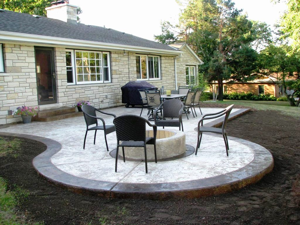 Backyard Cement Patio Ideas Good Looking Simple Concrete Patio