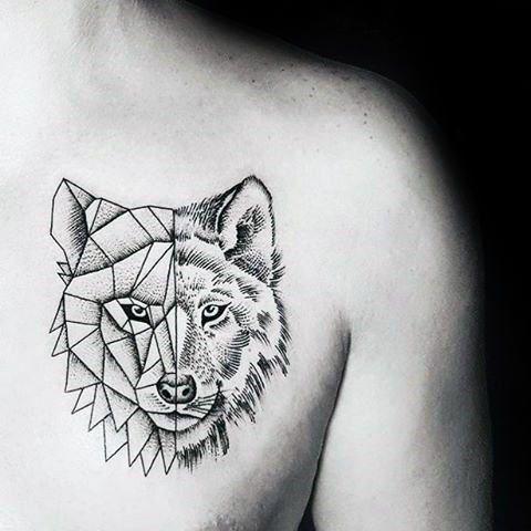 Top 83 Minimalist Tattoo Ideas 2020 Inspiration Guide Geometric Tattoo Geometric Animal Tattoo Wolf Tattoo Design