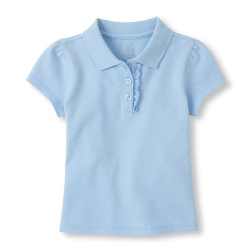 d285093c5042f Baby Girls Uniform Short Sleeve Ruffle-Placket Polo - Blue - The Children s  Place
