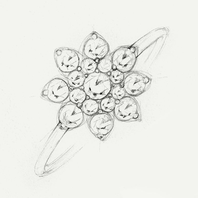 a sketch of a diamond flower engagement ring