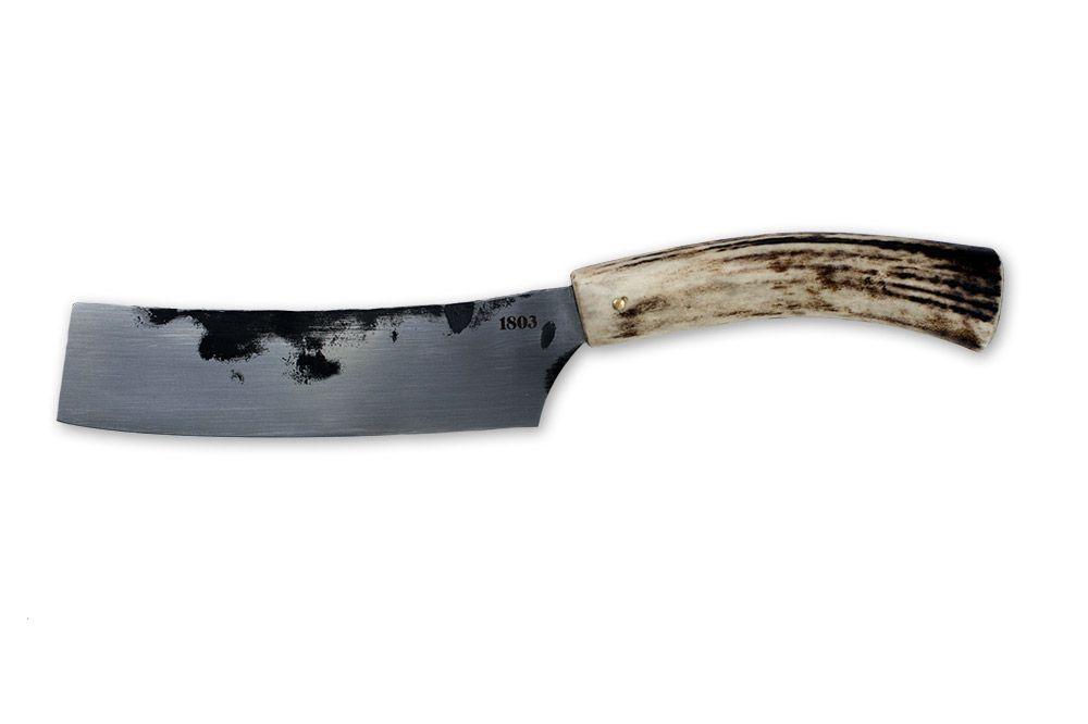 1803 Classic Cleaver. Hand-forged stainless steel blade set in a red deer antler handle.   1803 Artisan Deer Design Australia #antler #deer #knives #cleaver #Australian #artisan #1803 #handmade