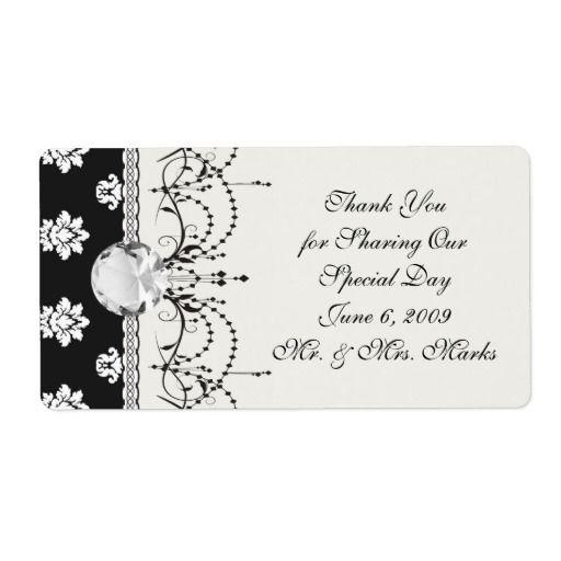 black and white flourish damask pattern shipping labels