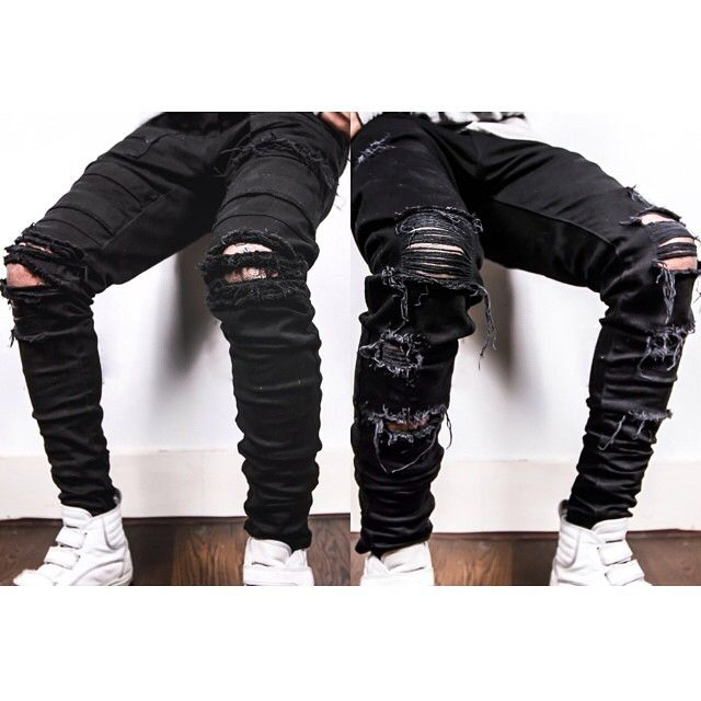 Men Fashion Ripped Destroyed Denim Jeans Style Swag Streetwear Urban Trend Ripped Jeans Men Denim Jeans Fashion Destroyed Denim Jeans