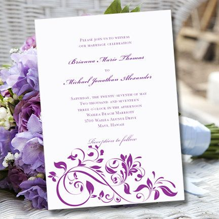 """Purple Wedding Invitation Template """"Flourish""""   Printable Word.doc   Editable and an Instant Download   ALL COLORS AVAILABLE   You Print"""
