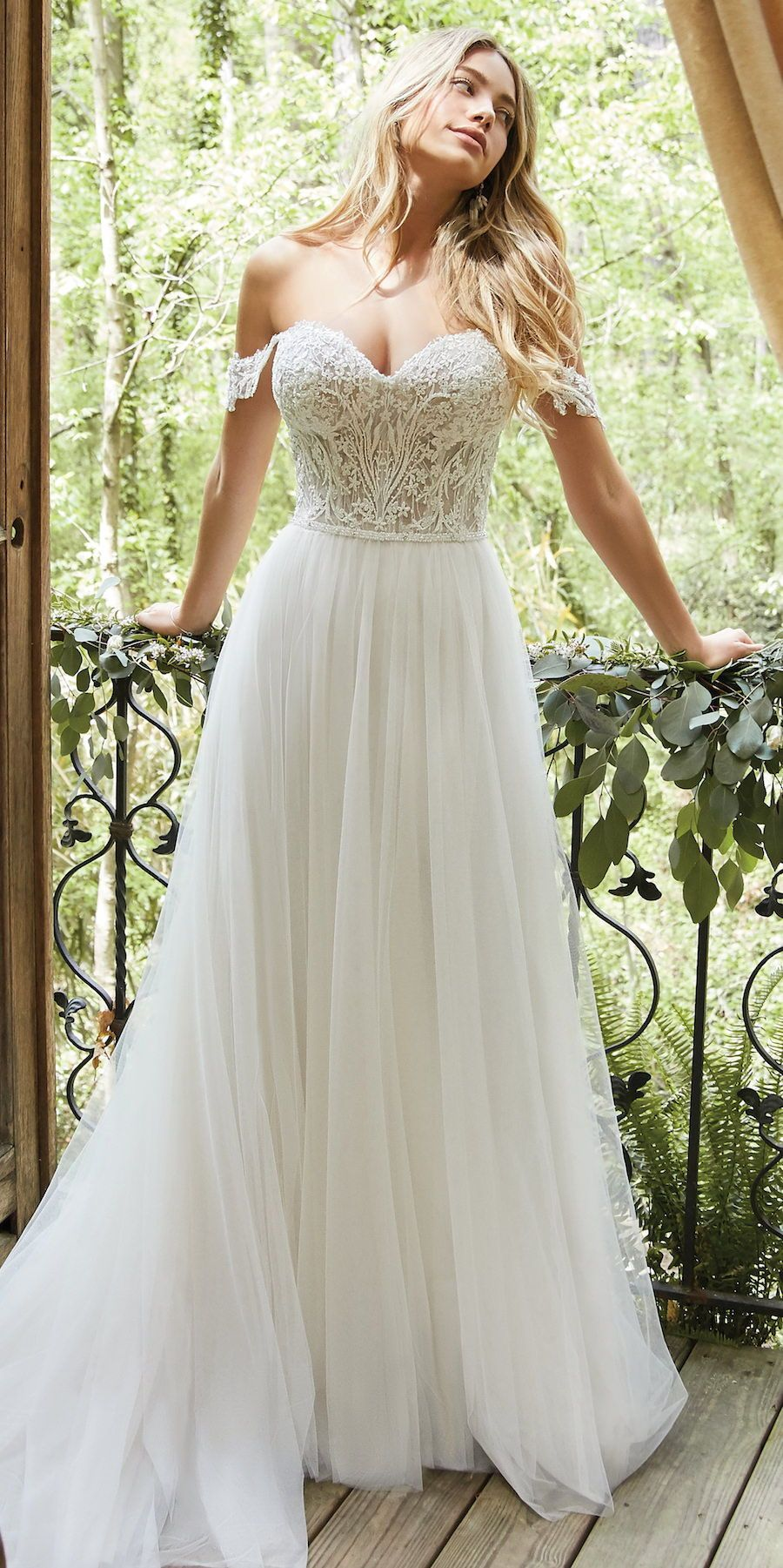 Wedding Dresses Lace Red A Line Wedding Dress By Rebecca Ingram Nia Beautiful Sheer Em In 2020 Wedding Dresses Beaded Tulle Skirt Wedding Dress Bodice Wedding Dress