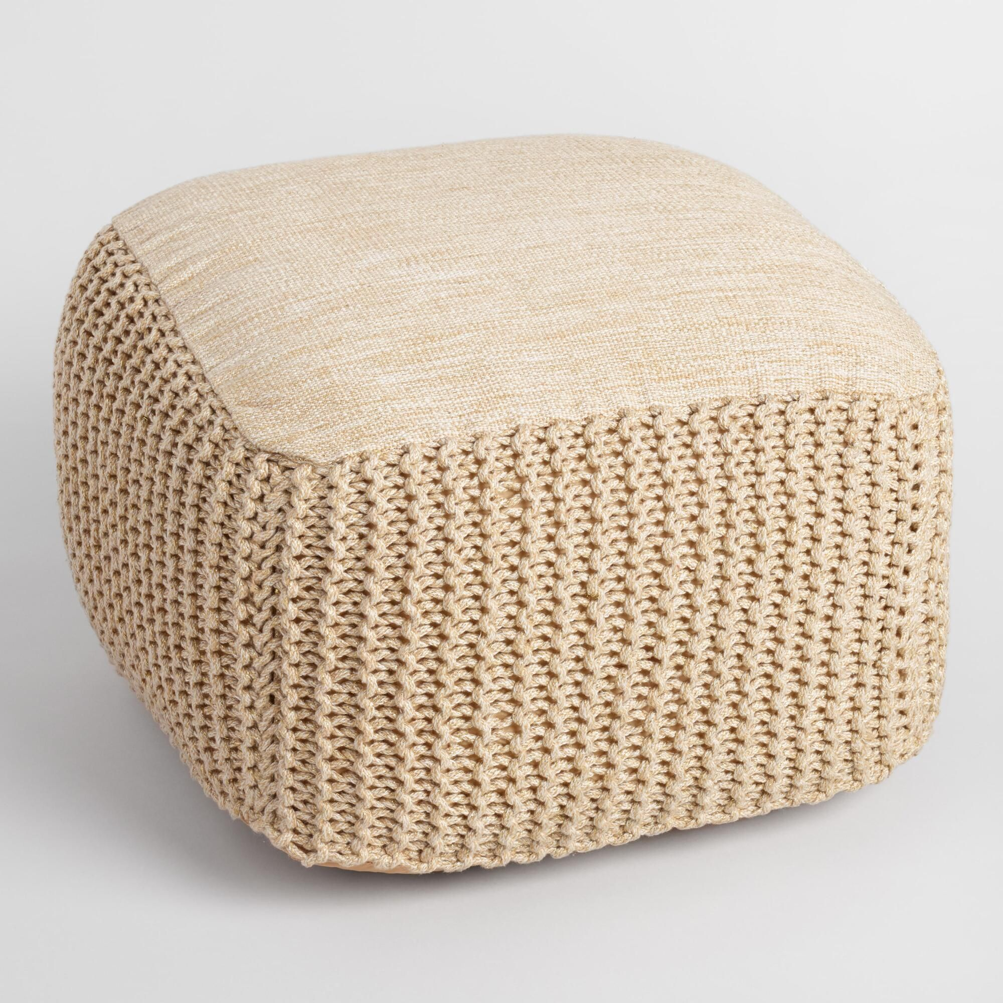 Gold Square Indoor Outdoor Pouf