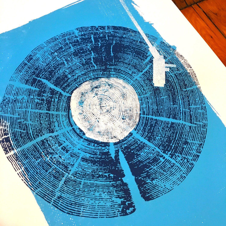 Screenprint Record Player Art Print Wood Texture Vinyl Lp Art Etsy Blue Wall Art Art Prints Screen Printing