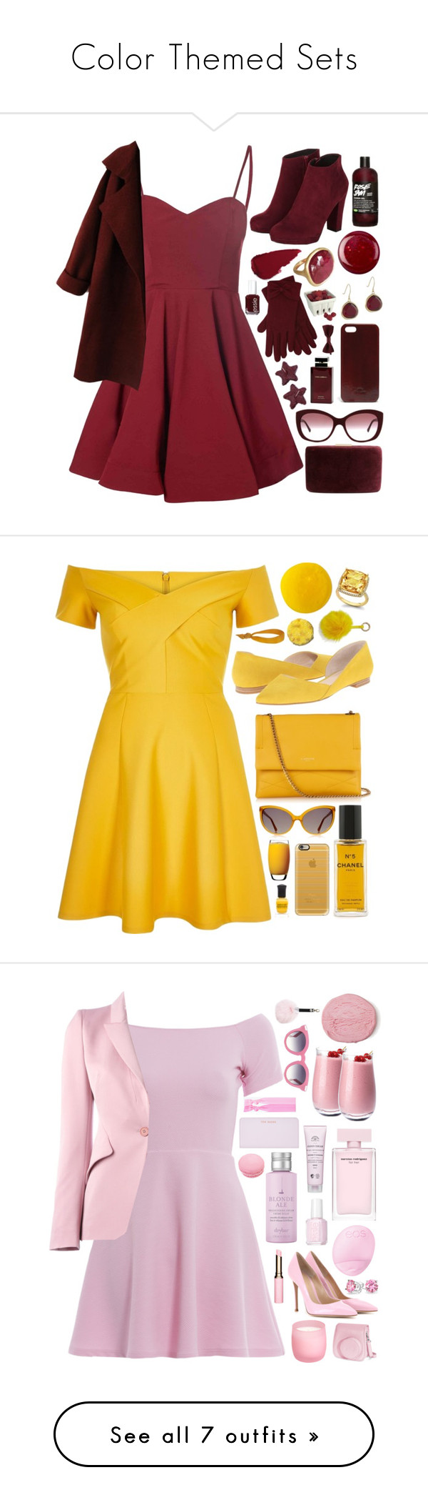 """""""Color Themed Sets"""" by onewithbirds ❤ liked on Polyvore featuring Glamorous, Karen Kane, M&Co, Burberry, Essie, Dolce & Gabbana Fragrance, Artland, Kayu, Forever 21 and River Island"""