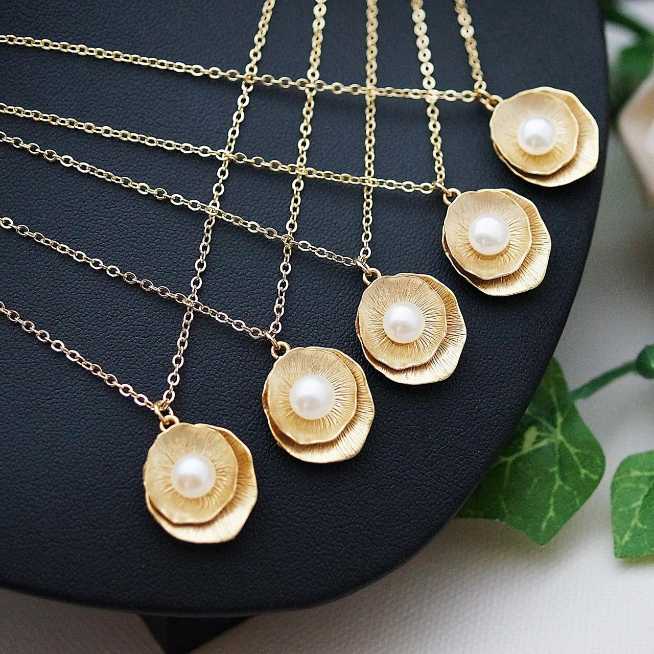 Gold Lotus with Fresh Water Pearls Bridesmaid Necklaces ...
