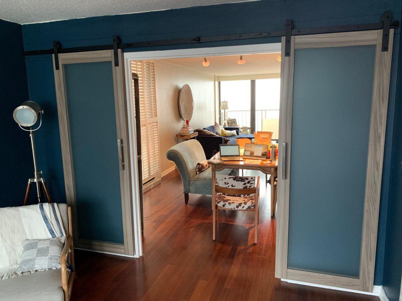 Grey Barn Door Headboard. King or queen bed. Barndoor
