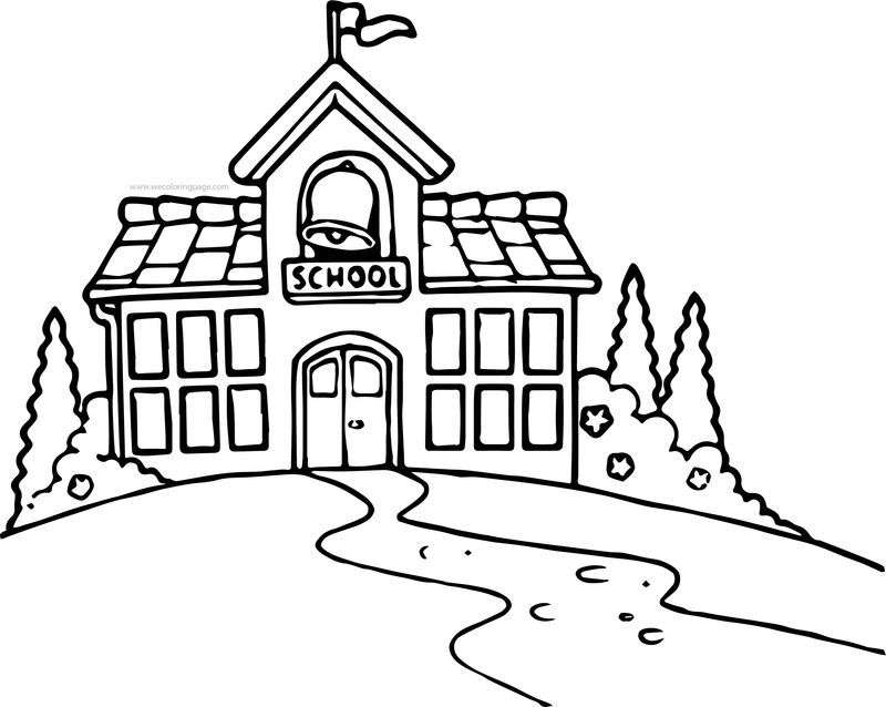School Building Black And White School Building Coloring Page