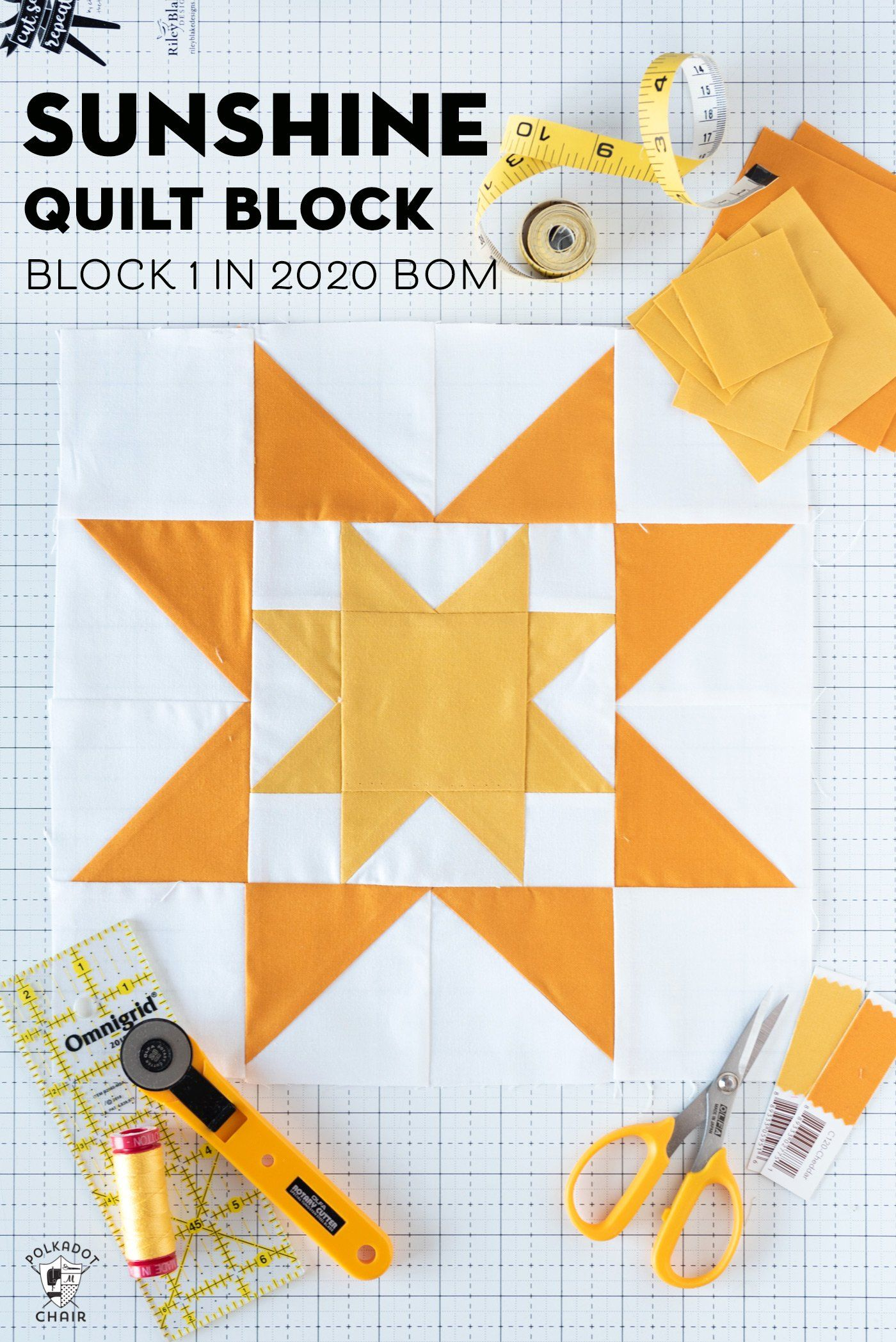 Sunshine Quilt Block; Block 1 in Choose Happiness Quilt Along