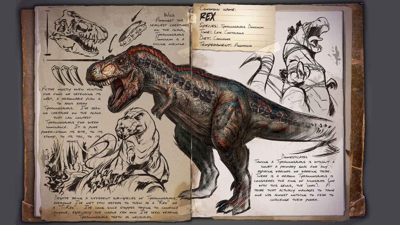 Ark survival evolved u dino dossier tyrannosaurus