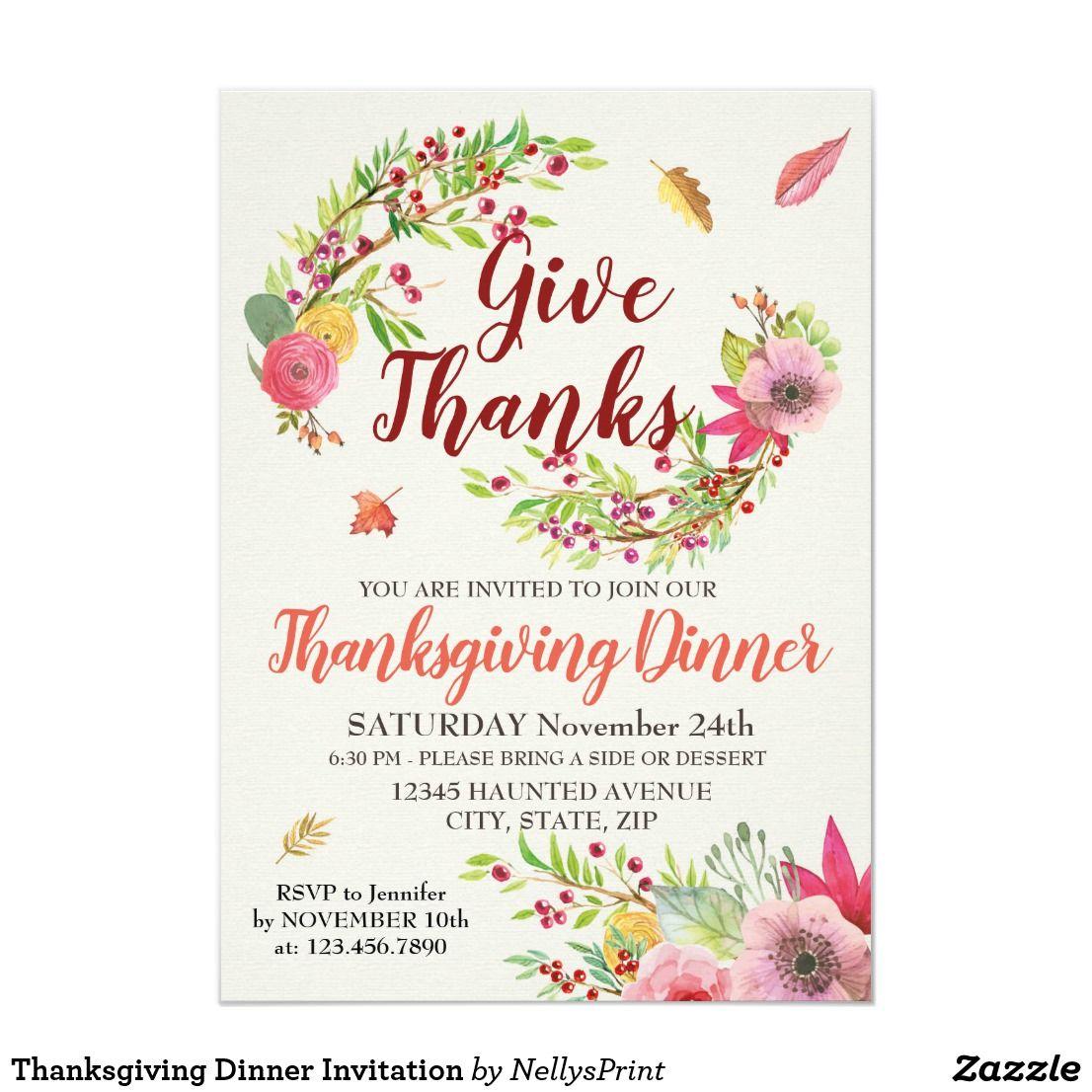 Thanksgiving Dinner Invitation