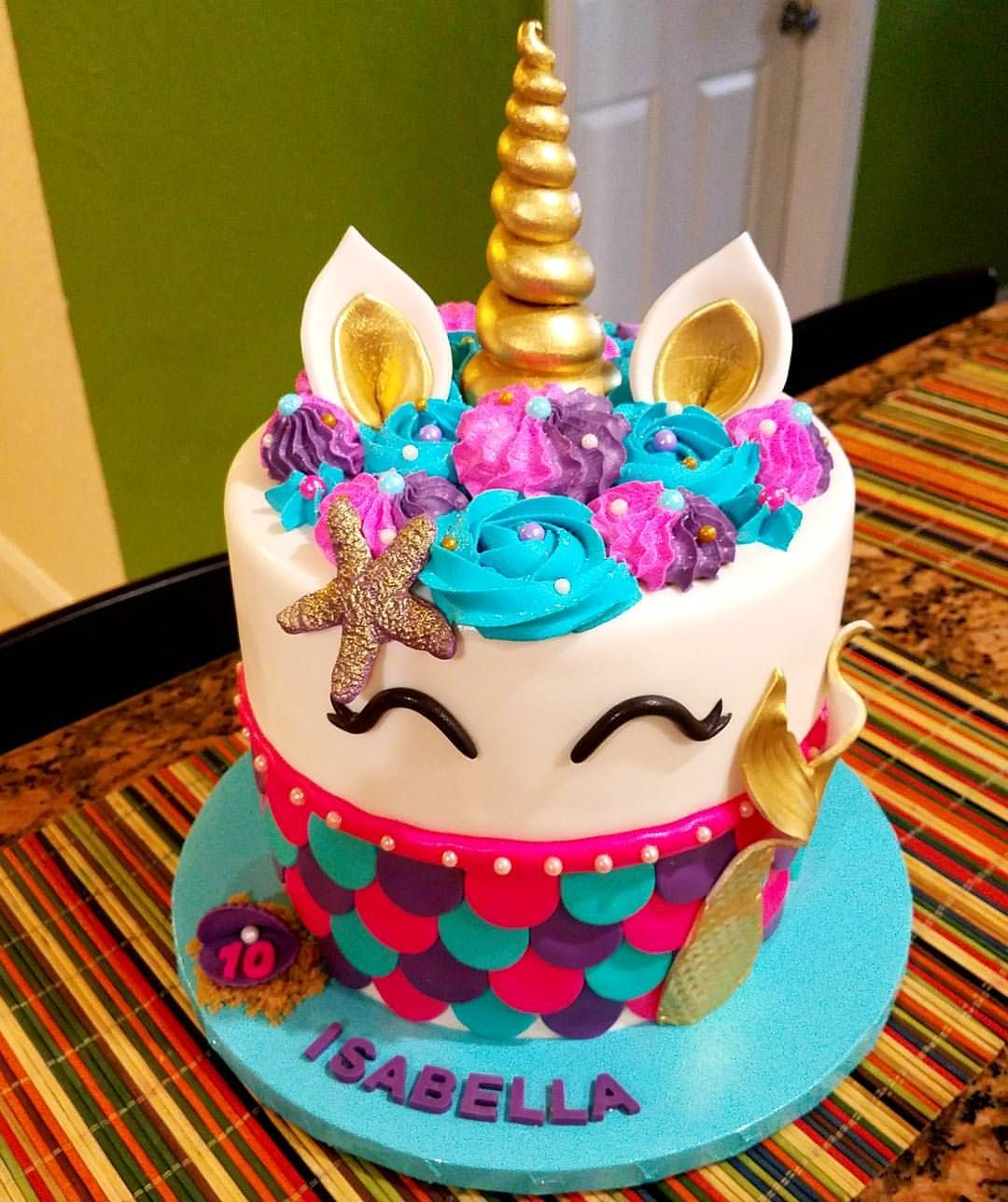 Mermaid And Unicorn Meet Mermaidunicorncake Cake Unicorncake