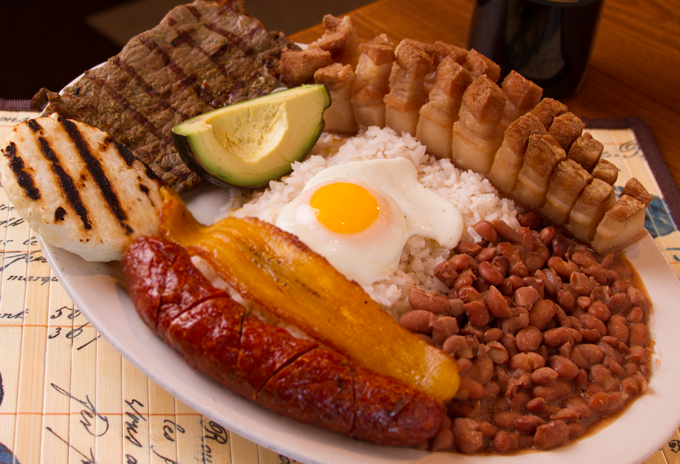 Bandeja Paisa, a national dish of Colombia, a skirt steak ...