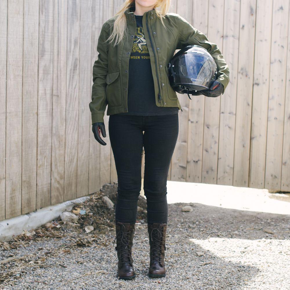 Womens green motorcycle jacket
