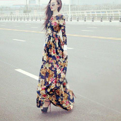 Boho-Damen-Blumen-Floral-Lang-Maxi-Chiffon-Kleid-Vintage-Party ...