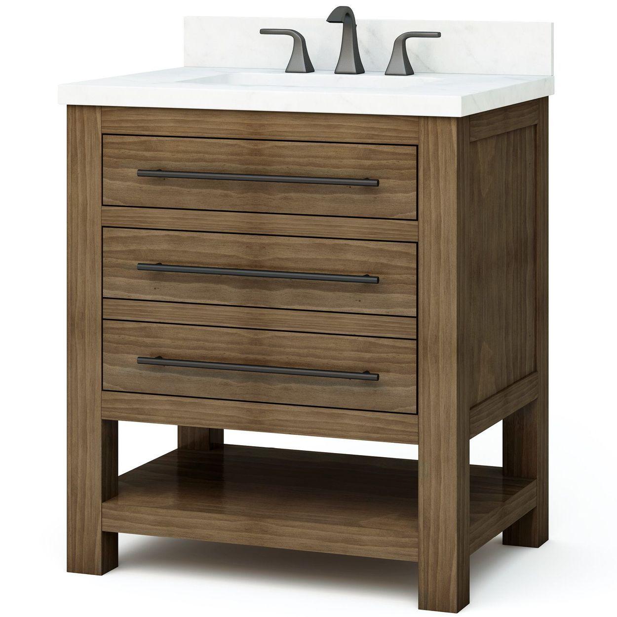Allen Roth Kennilton 30 In Gray Oak Single Sink Bathroom Vanity