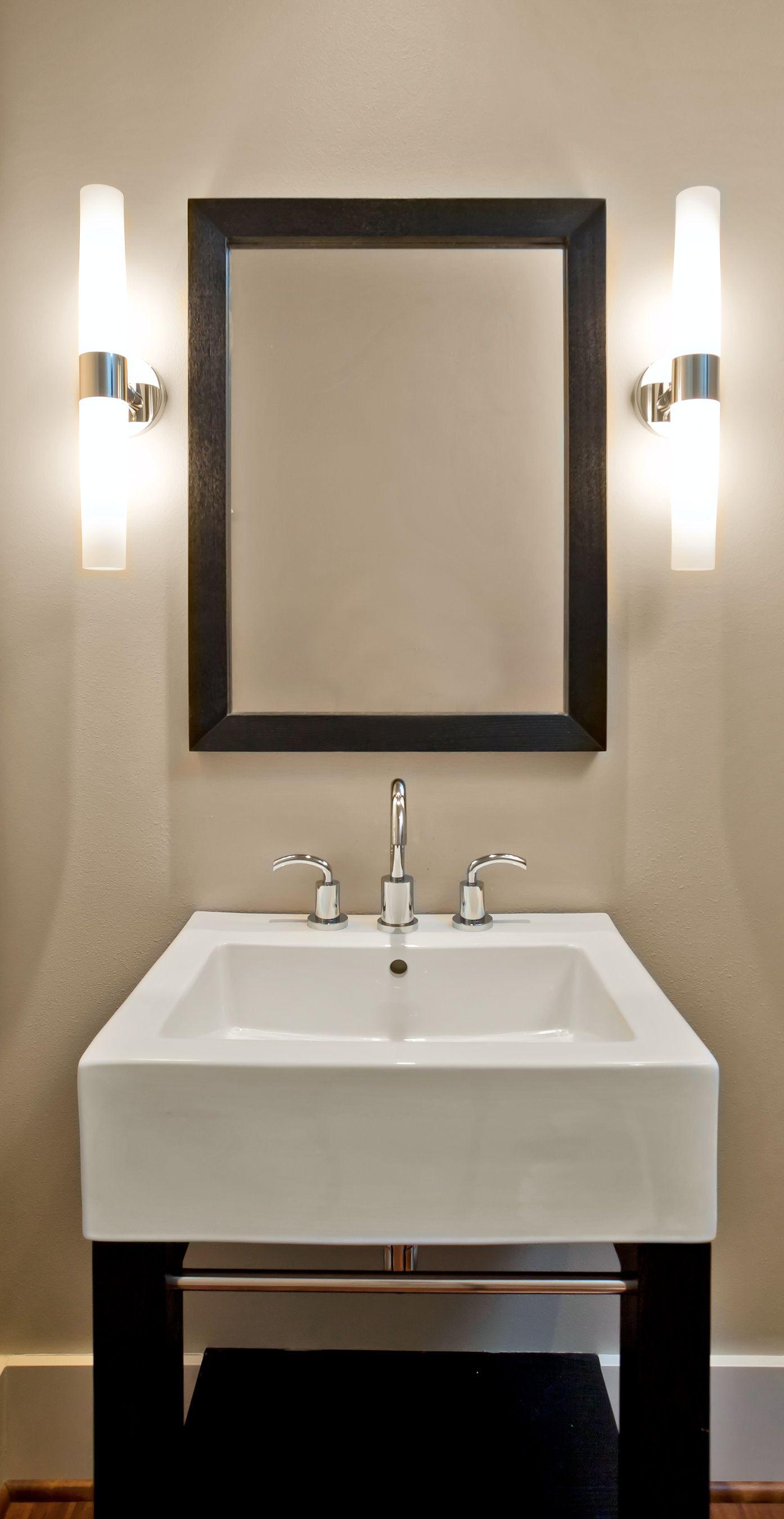 Modern Bathroom With Stand Alone Sink Modern Bathroom Lighted