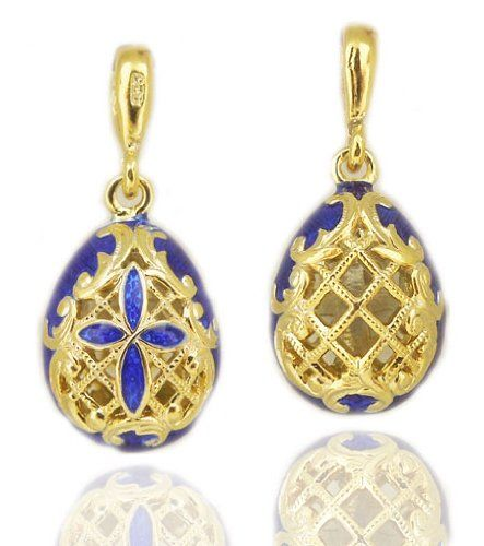 Reversible Russian Faberge Style Egg Pendant Sterling Silver 925 Faberge Style Egg Pendant