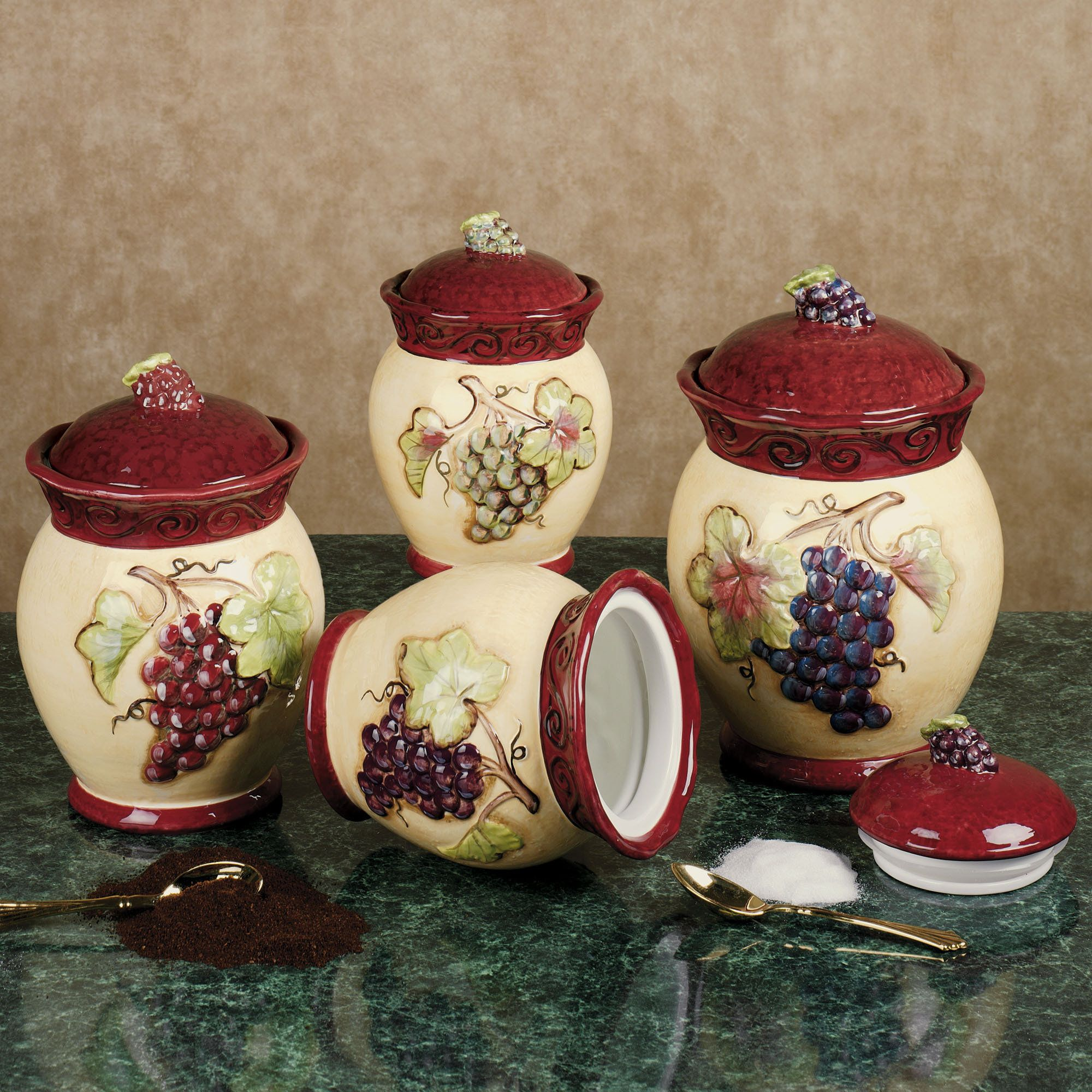 Tuscan Kitchen Canisters Cabinetry Wine Canister Grapes And Pinterest