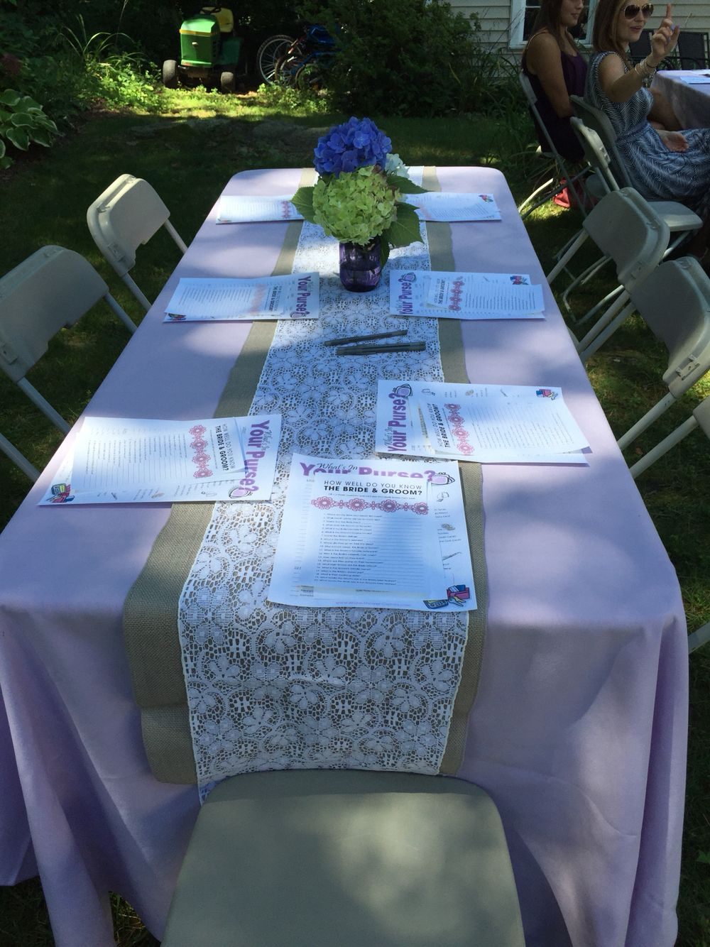 Lilac Tablecloth With A Gray Burlap And Lace Table Runner Is Great For A  Bridal Shower!