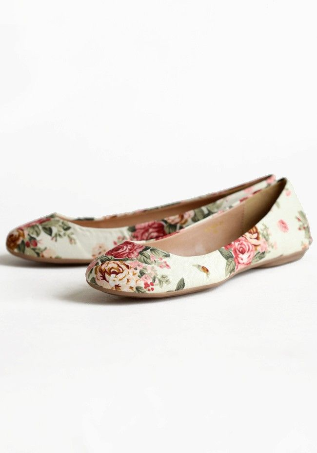 Roses In The Garden Floral Flats In Beige 32.99 at shopruche.com. A beautiful floral print adds romantic charm to these light beige canvas flats.  Slightly padded footbed, All man-made materials