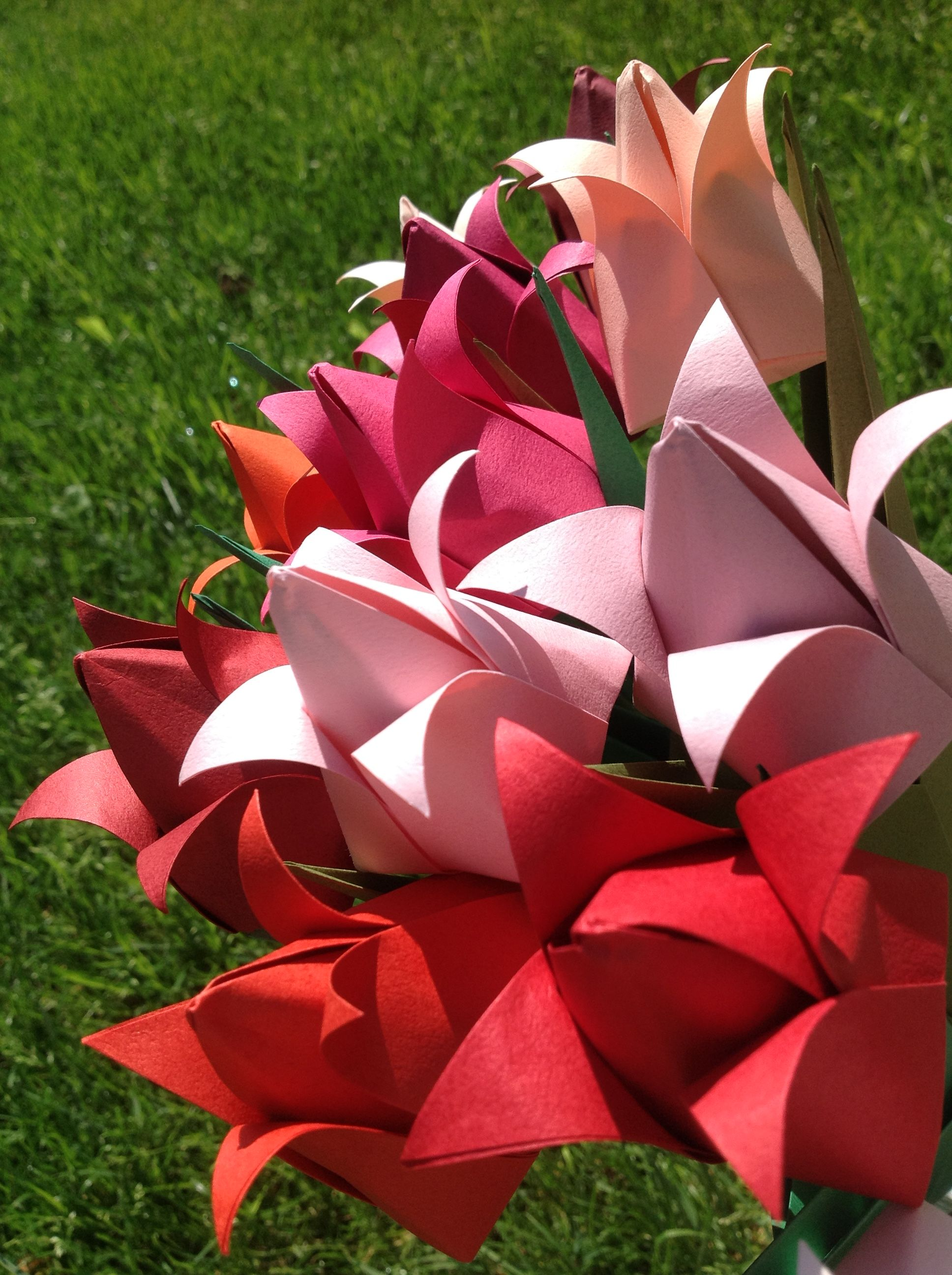 Tulips Shades Of Red Origami Flower Arrangement Origami