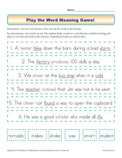 Play The Word Meaning Game 1st Grade Reading