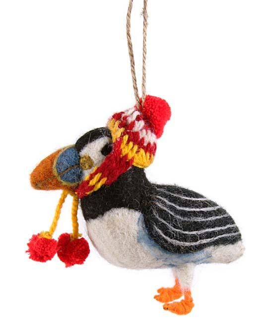 Felt Puffin with Knit Hat Ornament