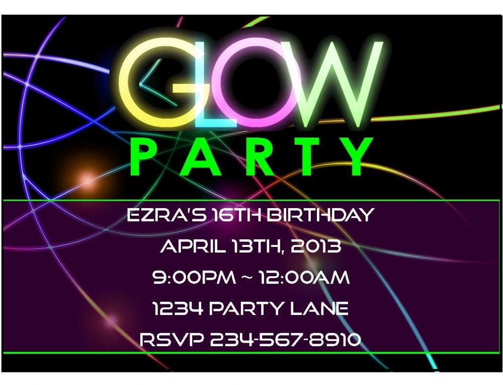 black light party invitations free | parties! | pinterest | party, Party invitations