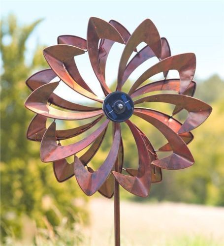 Wind Spinners Yard Garden Windmill Solar Led Flower Metal Outdoor Copper Look Plowhearth Flower Spinner Metal Wind Spinners Led Flower