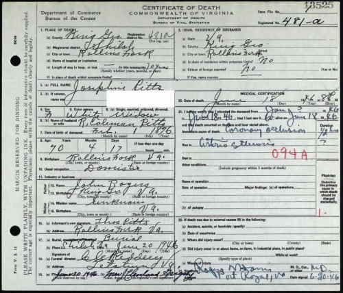 Josephine Rogers Pitts (1946) Commonwealth of Virginia Death Record ...