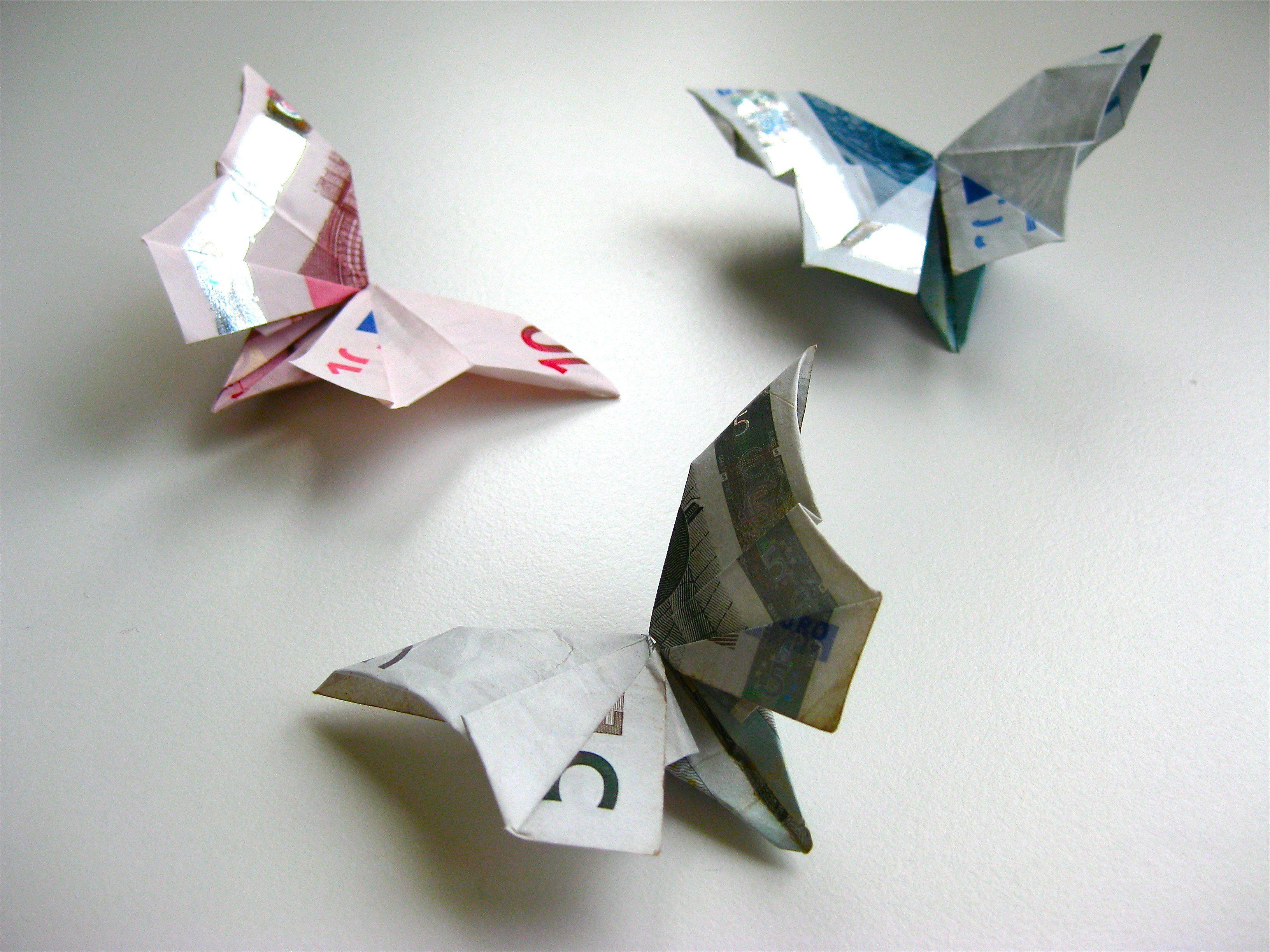 Origami Geldschein Schmetterling Video Anleitung Origami, Papercraft and Scrapbook
