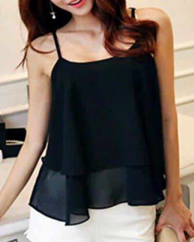 8a5f8d85b746b4 Chiffon blouse cami tank top for girls plain black lace up t shirt ...