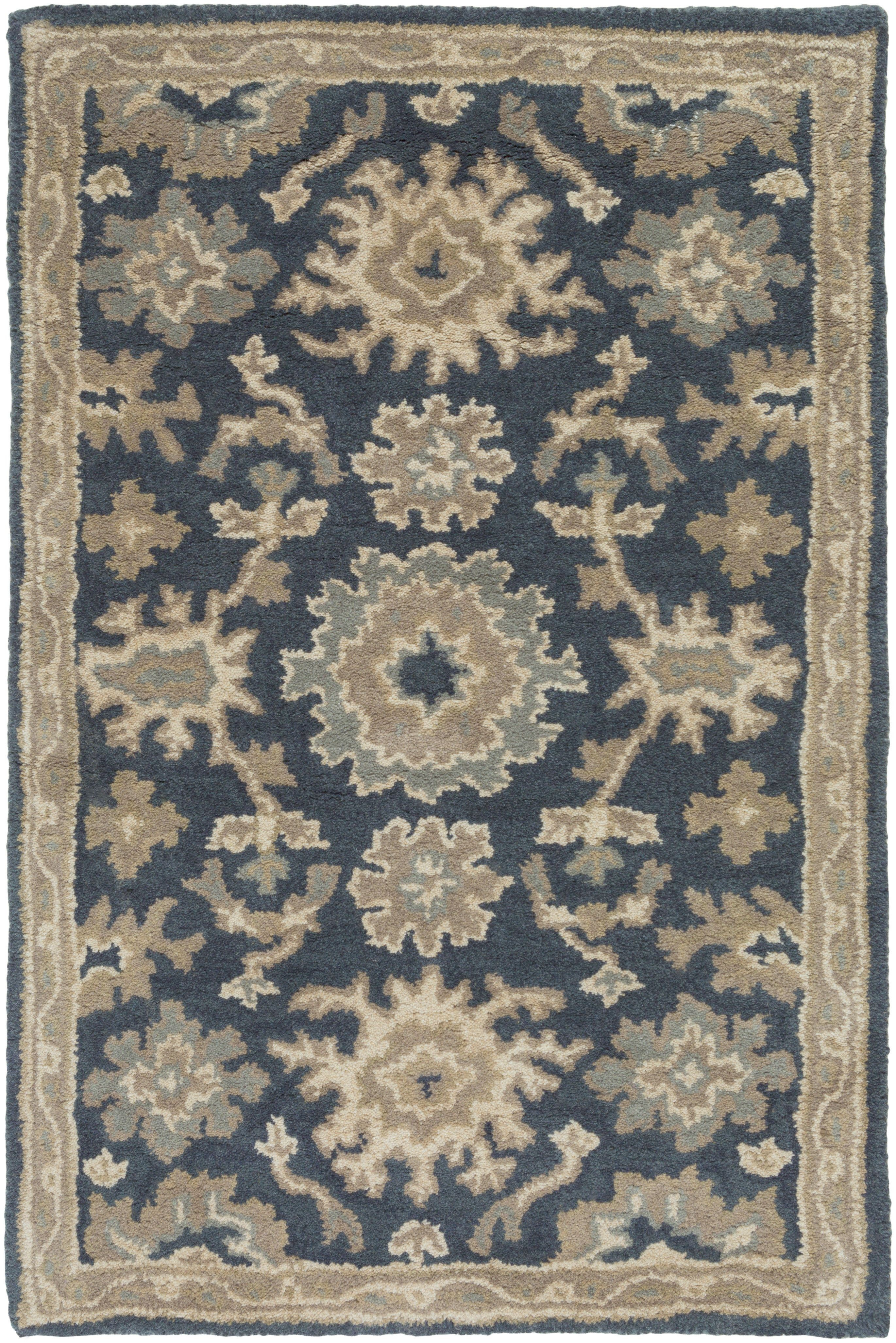 Willard Floral Handmade Tufted Wool Navy Tan Area Rug Wool Area Rugs Traditional Area Rugs Area Rug Collections