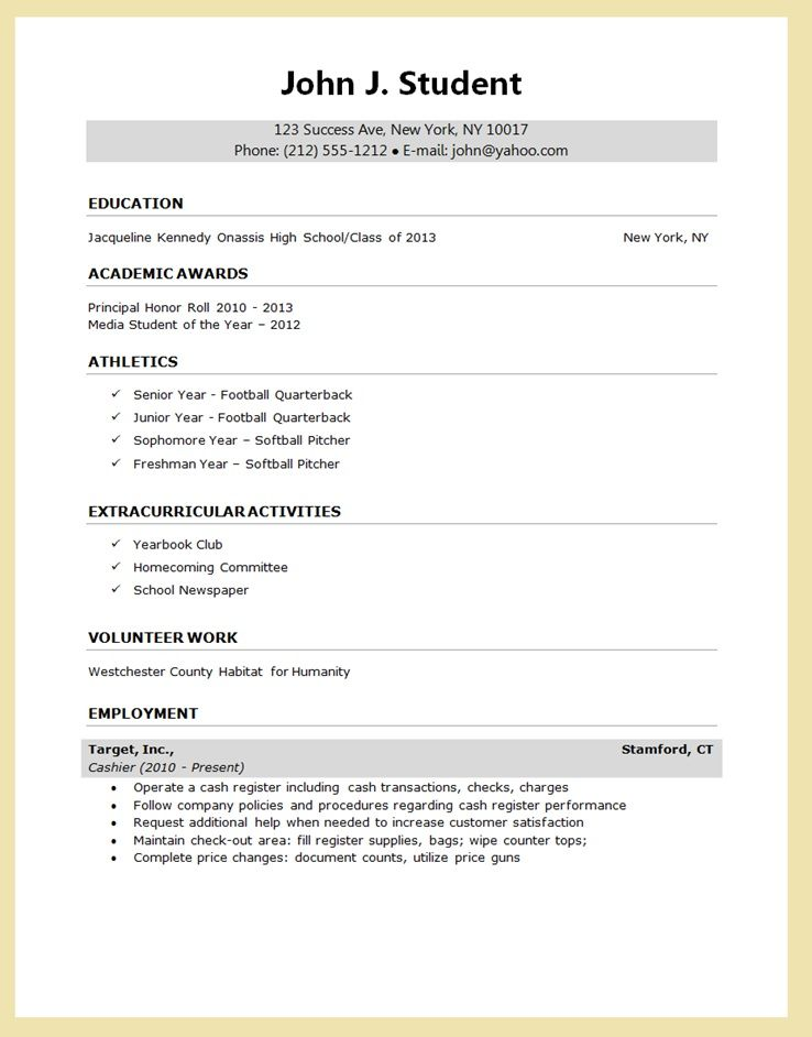 HIGH School senior resume for college application - Google Search - example of college student resume