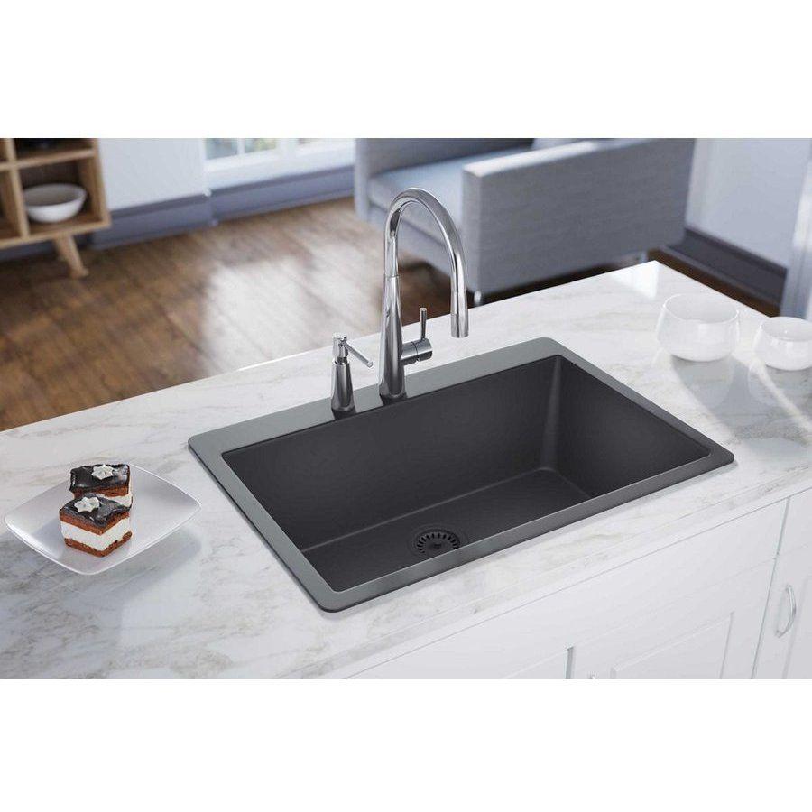 Elkay Quartz Luxe 33 Inch Single Bowl Drop In Sink Charcoal Elxr13322ch0 Drop In Kitchen Sink Grey Kitchen Sink Farmhouse Sink Kitchen