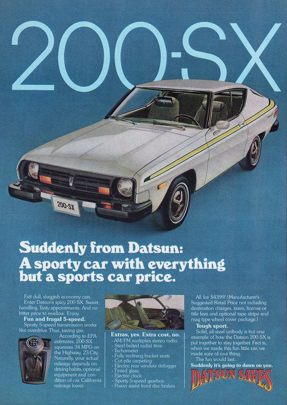 1977 Datsun Original Car Ad 200sx White Yellow By Phorgotten Datsun Car Ads Nissan Cars