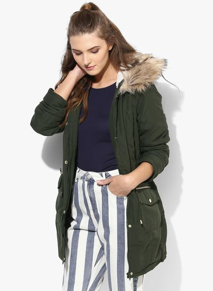 Buy Dorothy Perkins Green Solid Winter Jacket for Women Online ...