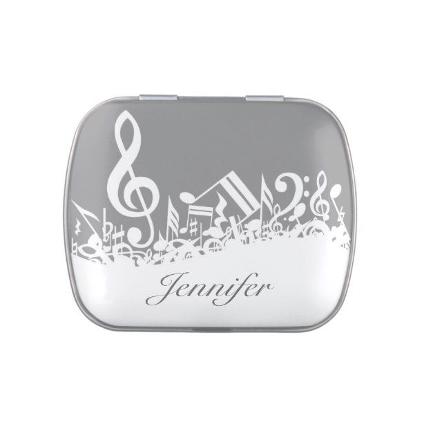 Musical Notes Dinner Mint Favor Box Jelly Belly Candy Tin