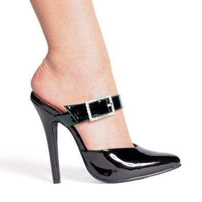 1cf1437720e 5 Inch Sexy High Heel Shoe Womens Sandals Slide Mule Slip On Closed Toe  With Rhinestone Buckle