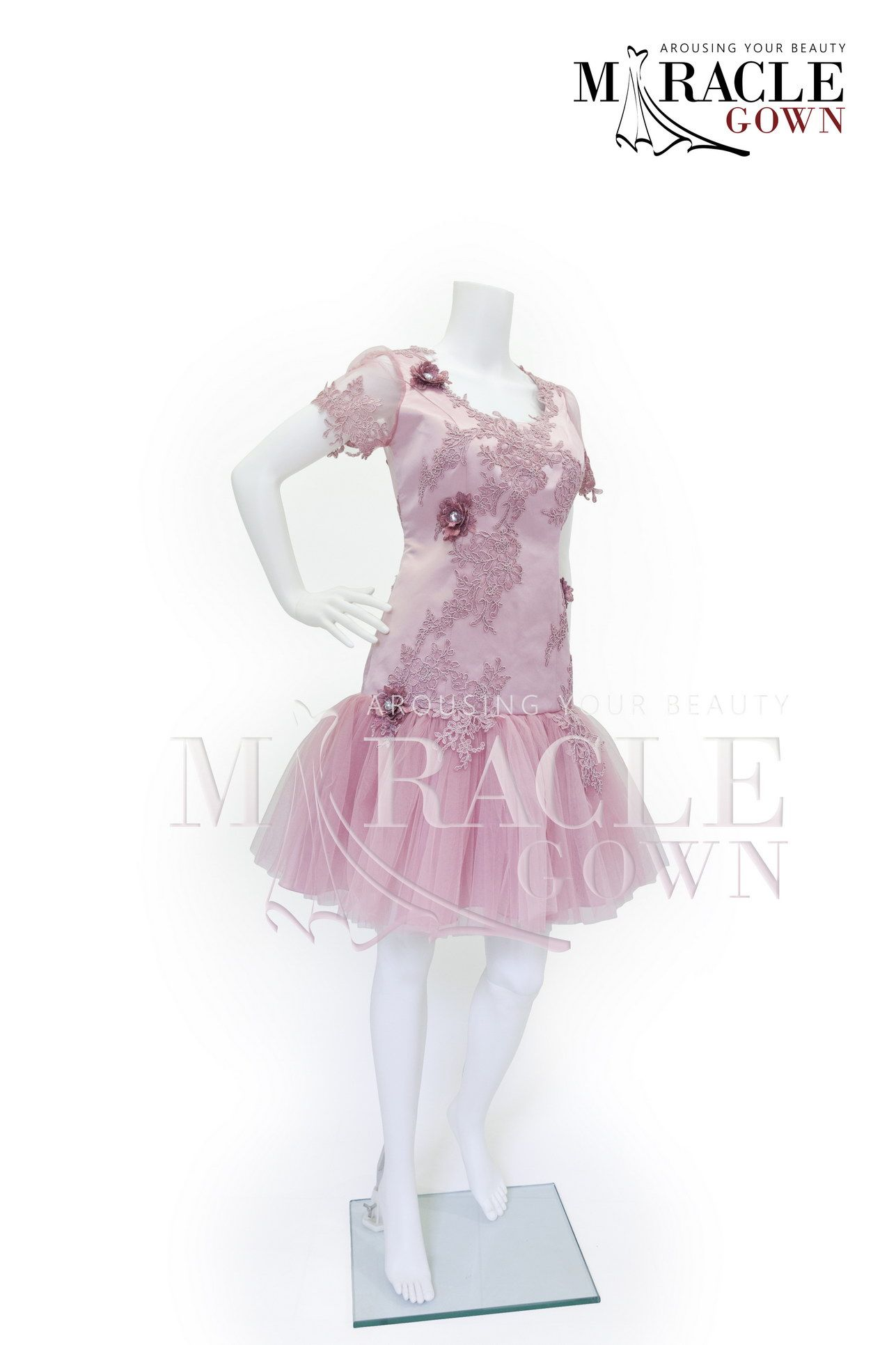 Misty rose brocade flourished facebookmiraclegown or